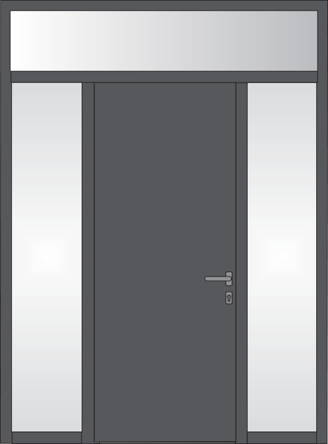 Construction Options for Elite - Door with side fixed glass and fixed upper-fanlight or with opening
