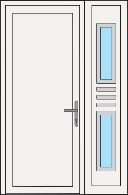 Construction options for PVC Entrance Doors - Right or left glass door