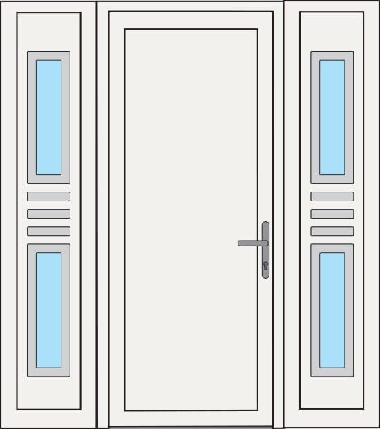 Construction options for PVC Entrance Doors - Side glass door