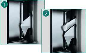 'Parrot beak' DUO tilting latches with automatic closing