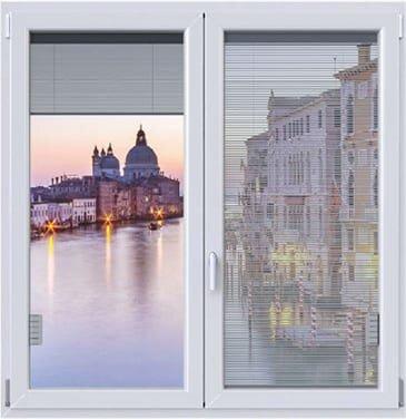 Window with venetian blinds