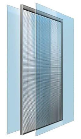 Venetian blinds between two glass panes